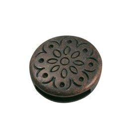 CDQ Rond bloem dicht 13mm brons kleur