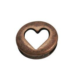 CDQ leerschuiver hartje rond 13mm brons kleur
