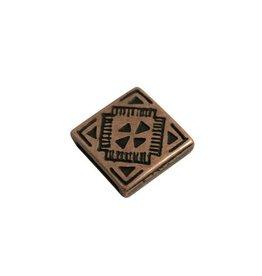 CDQ Leerschuiver vierkant keltisch 13mm brons kleur.