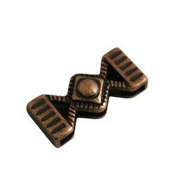 CDQ Ls leerschuiver zandloper 33x14mm brons kleur.