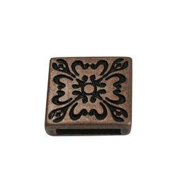 CDQ Ls leerschuiver 13mm Bloem 4kant brons kleur.