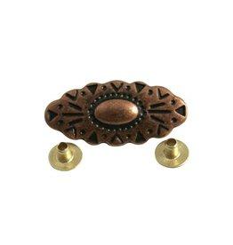 CDQ rivet oval bew. 34x16 copper plating.