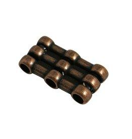 CDQ Ls leerschuiver 3xgats/3xschuif brons kleur