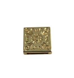 CDQ slider bead 13mm flower square  Gold plating