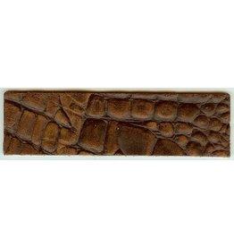 CDQ wristband leather brown crocodile print 40mmx14.5cm