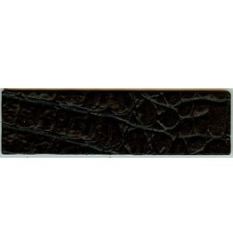 CDQ wristband leather black crocodile print 50mmx14.5cm