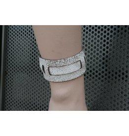 CDQ bracelet strap leather with  gespje Gobi white crack