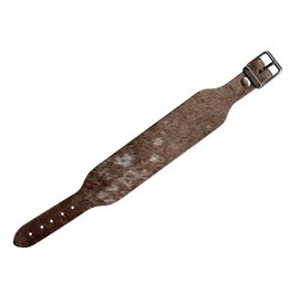 CDQ bracelet strap leather with buckle hairy white / brown  30mm medium size