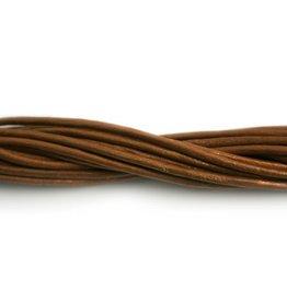 CDQ lederband  2mm brown metallic 1 meter .