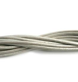 CDQ leather cord 2mm white metallic 1 meter .