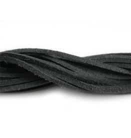 CDQ Leerveter vierkant 2mmx85cm crackle zwart