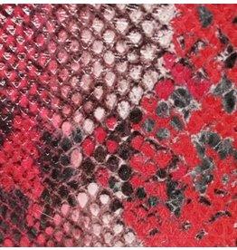 CDQ Plat leder Rood reptiel-snake 13mmx85cm