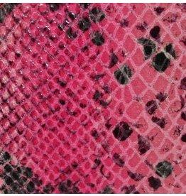 CDQ Leerstroken Nederlands splitleder Roze reptiel-snake 13mmx85cm verpakt per 3 stuks