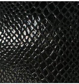 CDQ Plat leder Zwart reptiel-snake 13mmx85cm