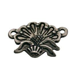CDQ Schmuckverbinder 2 Augen 19x17mm Silber Blume Charme