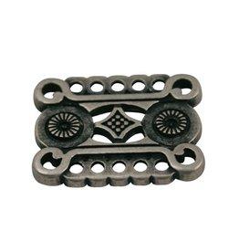 CDQ grieks ornament 7 ogen aan beide zijden 29x22mm zilverkleur