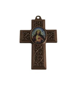 CDQ cross pendant with image 40x27mm antique copper metal