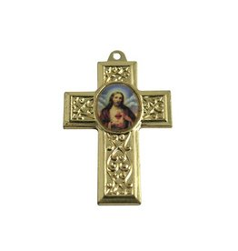 CDQ cross pendant with gold metal picture 40x27mm