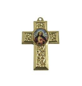 CDQ hanger kruis met afbeelding 40x27mm goudkleurig metaal