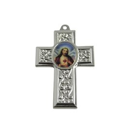 CDQ cross pendant with silver metal picture 40x27mm