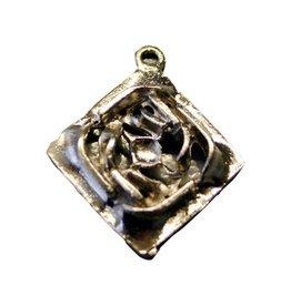 CDQ Bedel vierkant sierlijk 34mm platin zilver