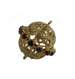 CDQ filigree bead multi crystal gold 22x23mm