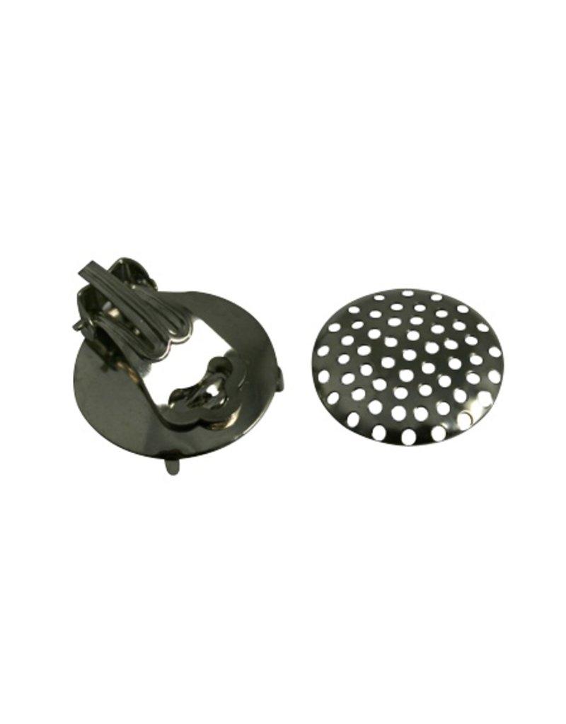 CDQ Strain ear clip 15 mm silver 20 pieces