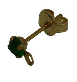 CDQ oorsteker met steentje en oogje 3mm emerald groen goudkleur