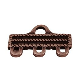 CDQ distribution end 3 eyes 31x18mm antique copper