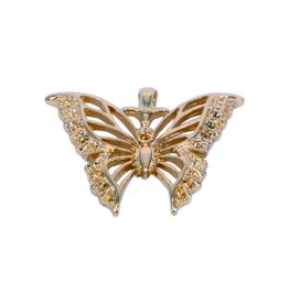CDQ butterfly pendant 39x32mm gold color