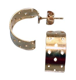 CDQ Zeef oor steker halfrond 17mm goudkleur p. 20 stuks