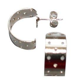 CDQ Zeef oor steker halfrond 17mm zilverkleur p. 20 stuks