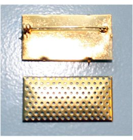 CDQ Sieve Brooch 41x21mm oblong gold color 5 pcs