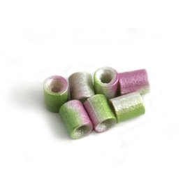 CDQ Czech glass bead tube lime green lilac metallic