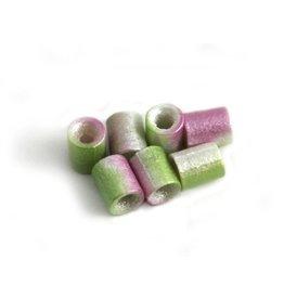 CDQ Tschechische Glasperlen rohr tube perle limegrun-lila metallic