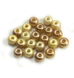 CDQ Czech glass bead pastel yellow champagne rose