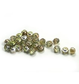 CDQ Czech glass bead limegreen champagne rose