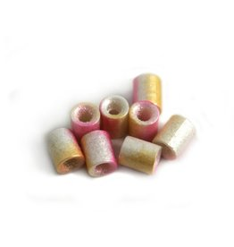 CDQ Czech glass bead tube pink orange