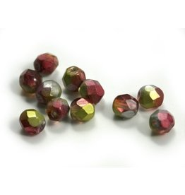 CDQ Czech glass bead fuchsia lime metalic coating
