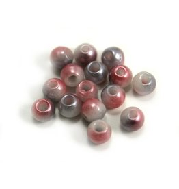 CDQ Czech glass bead pastel pink white grey metallic