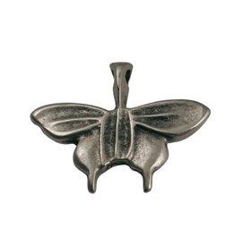 CDQ Hanger vlinder metaal 28x26mm zilverkleur