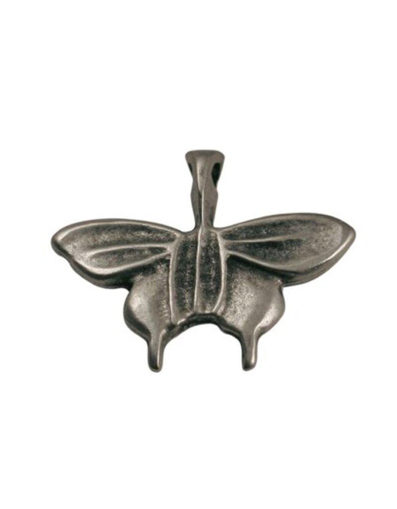 CDQ Metallic silver butterfly pendant 28x26mm