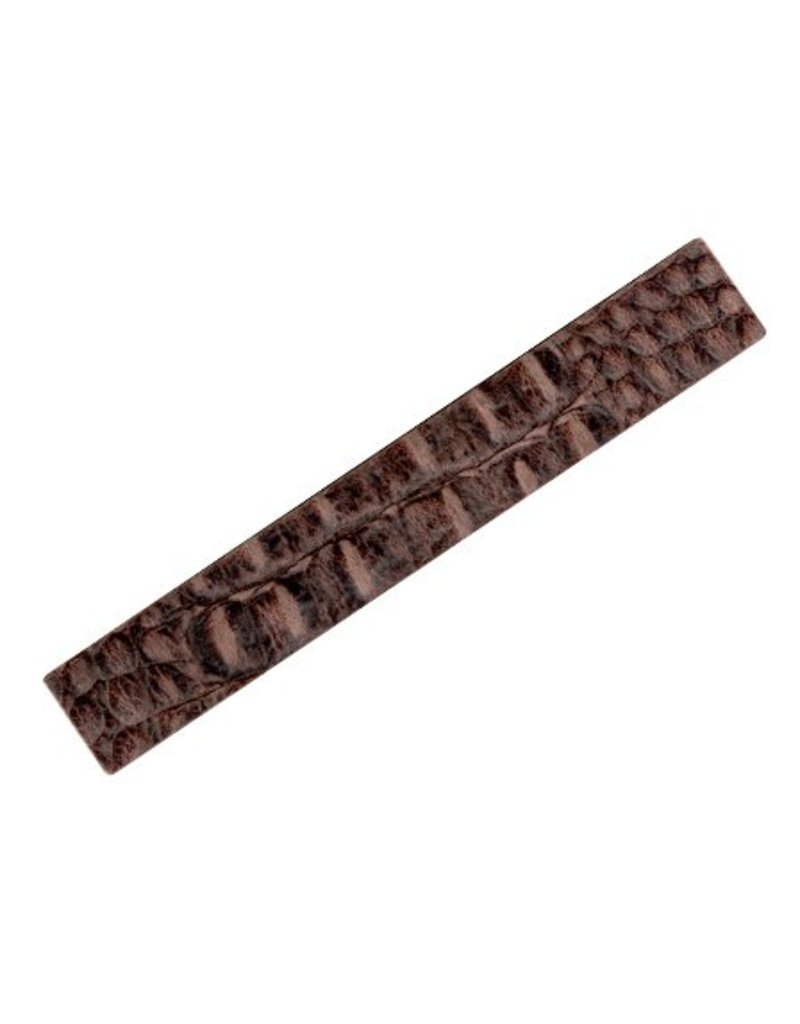 CDQ leather strap 29mm wide 19cm length straight brown crocodile print