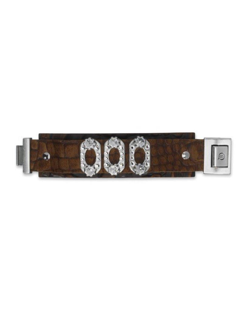 CDQ leerband croco zwart mat 40mmx14.5cm