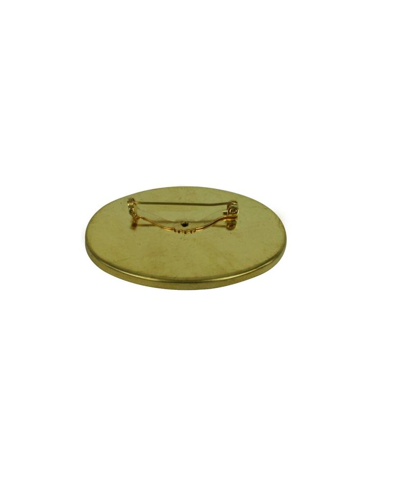 CDQ Brooch Pin inlay edge oval 60x44mm gold color 5 pcs