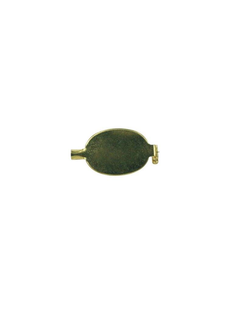 CDQ Brochespeld plat plaatje ovaal 19mm goudkleur per 20 stuks