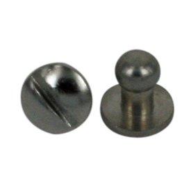CDQ Schraube Spike-Armband-Verschluss zur Cuoio 6x8mm Silber Farbe
