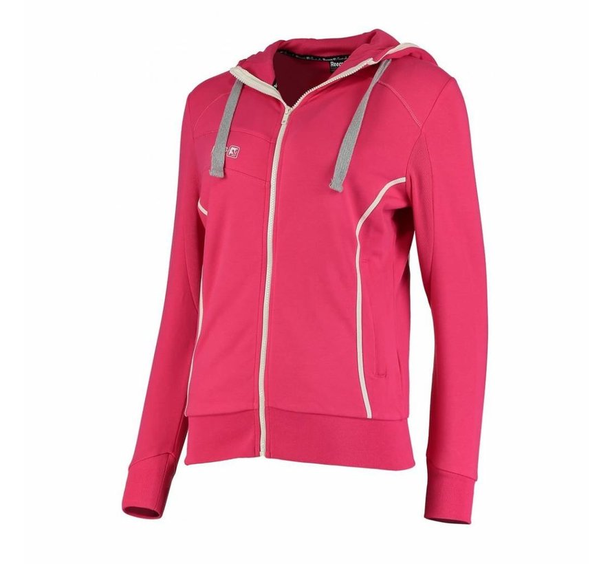 Kate Hooded Zip Sweat Roze/Wit