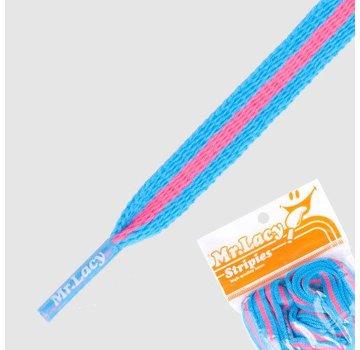 Mr. lacy Stripies Mellow Blue / Neon Pink
