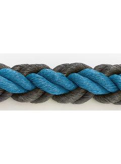 Hockeytouw Blauw/Zwart 8mm  per 30 meter ( prijs incl btw)